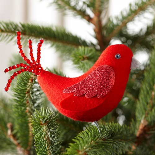 Show off your stitching talents on this little birdie. You can hang it on your Christmas tree or tie to a gift for your friends.