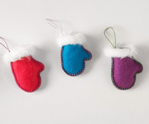 Add a cozy look to your holiday tree with mitten-shaped ornaments!