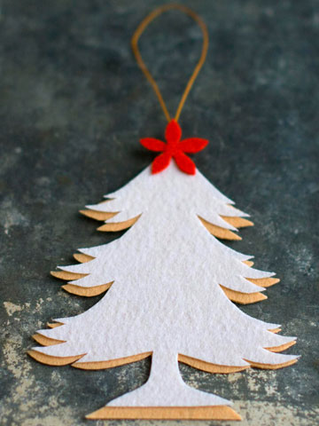 The mix of two tones creates a shadow effect on this simple tree ornament with a star.