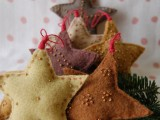 DIY Felted Wool Star Ornaments