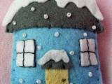 Felt Winter House Ornament