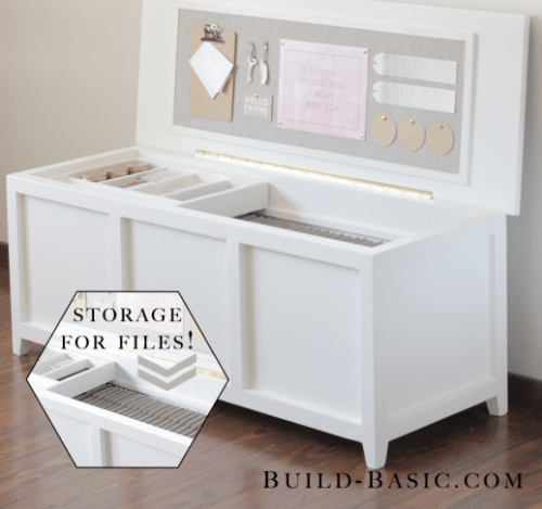DIY Filing Chest With A Built In Fabric Bulletin Board