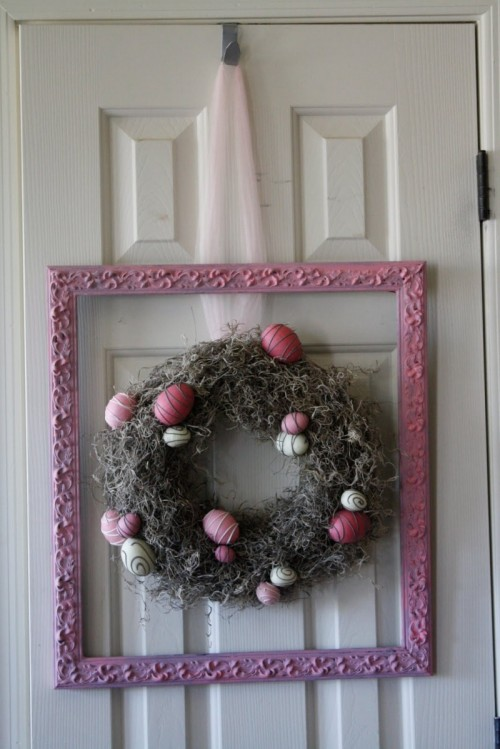 DIY Framed Easter Wreath