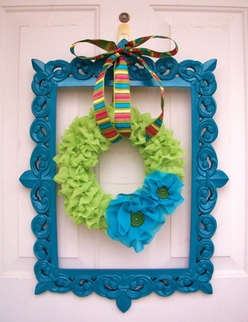 DIY Framed Fabric Spring Wreath
