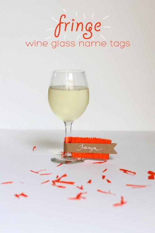 DIY Fringe Wine Glass Name Tags