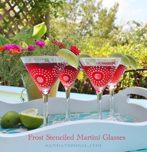 DIY Frost Stenciled Martini Glasses
