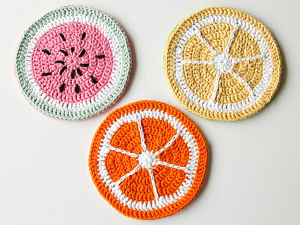 crochet fruit potholders