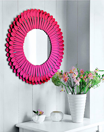 DIY Funky Sunburst Mirror Of Plastic Spoons