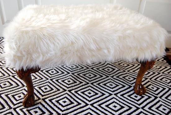 DIY Fur Ottoman