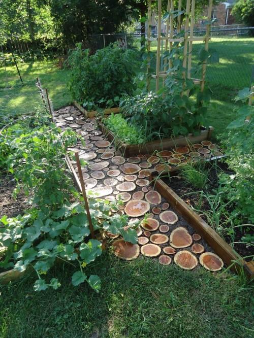 diy garden paths of wood slabs shelterness