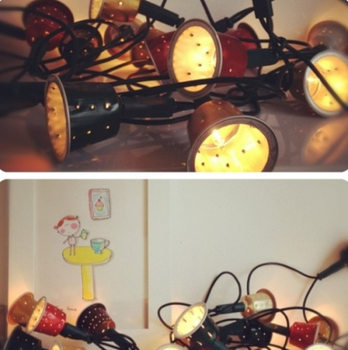 DIY Glowing Garland Of Coffee Capsules