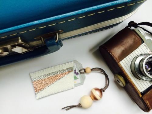 DIY Geo Leather Luggage Tag Using Nail Polishes