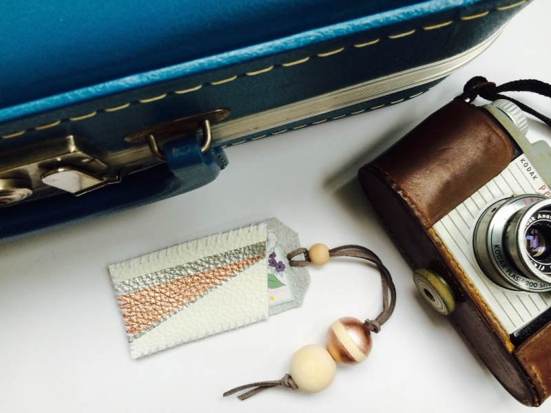 DIY Geo Leather Luggage Tag Using Nail Polishes