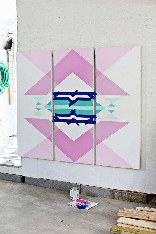Diy Geometric Art Headboard Panels