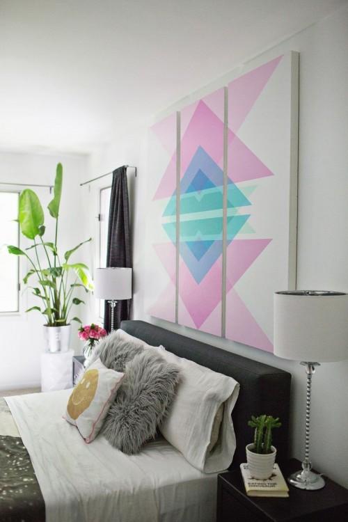 diy geometric art headboard panels shelterness buckingham headboard wall art stickers wall art studios
