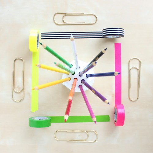 DIY Geometric Colored Pencil Holder