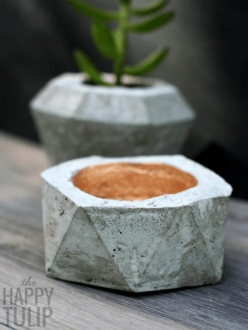 DIY Geometric Concrete Bowls In Two Ways