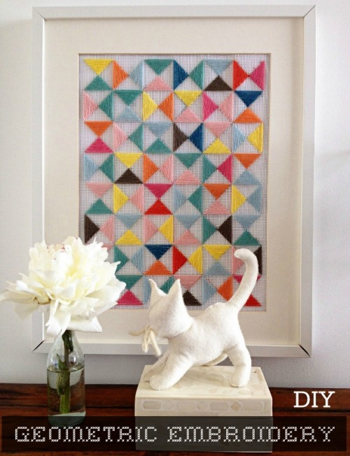 DIY Geometric Embroidery Art Piece