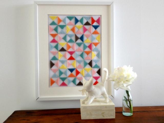 Diy Geometric Embroidery Art Piece