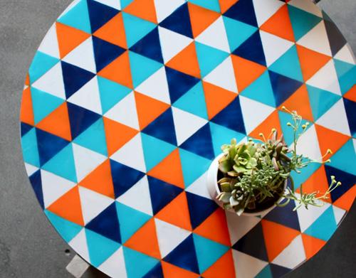 colorful triangle table (via designsponge)