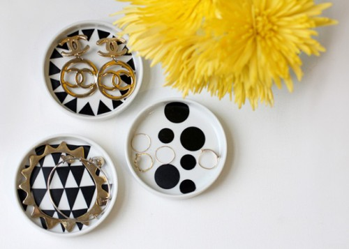 geo jewelry dishes with contact paper