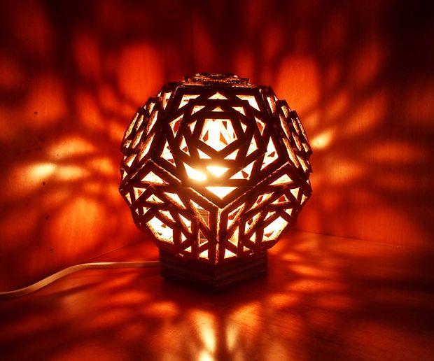 cardboard geo lamp