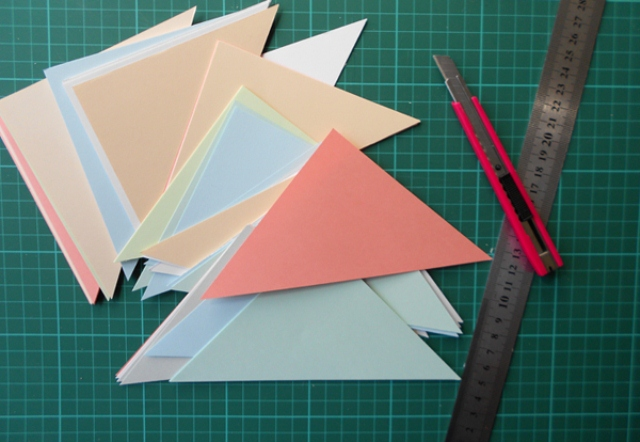 Picture of diy geometric patchwork wall art for Geometric wall art diy