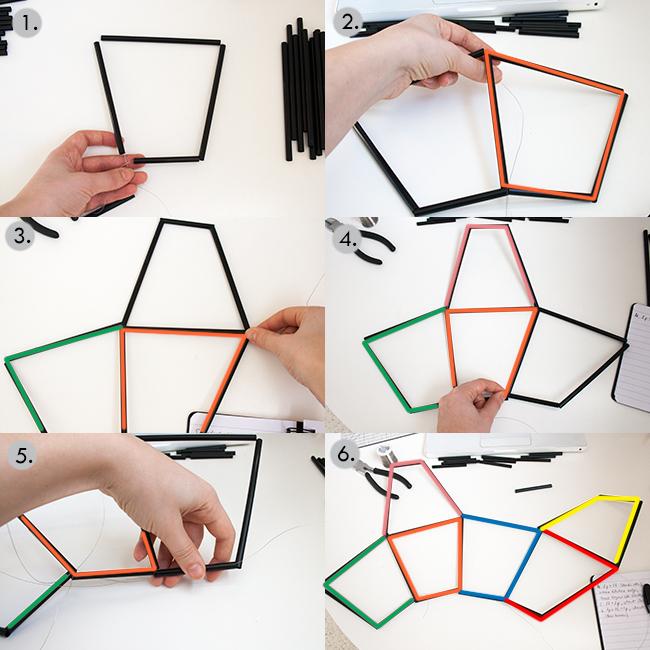 Picture Of diy geometric pendant light fixture of straws  3