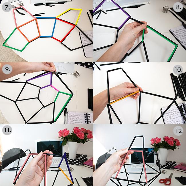 Picture Of diy geometric pendant light fixture of straws  4
