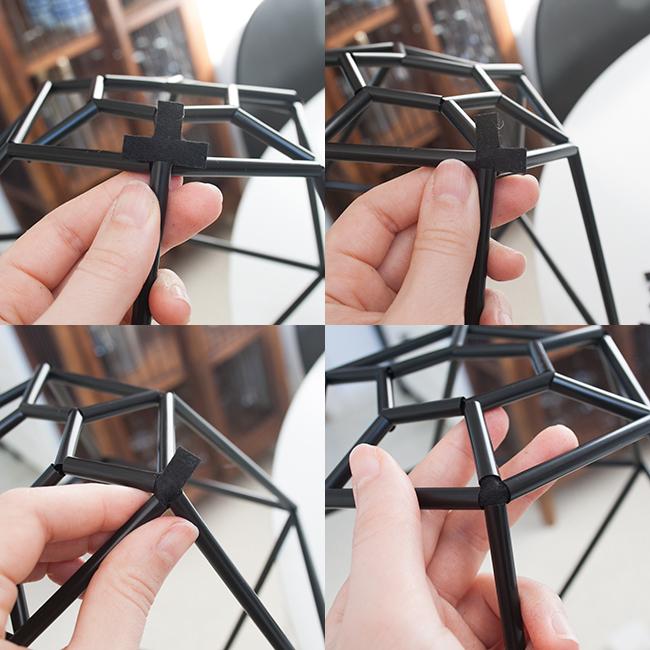 Picture Of diy geometric pendant light fixture of straws  6