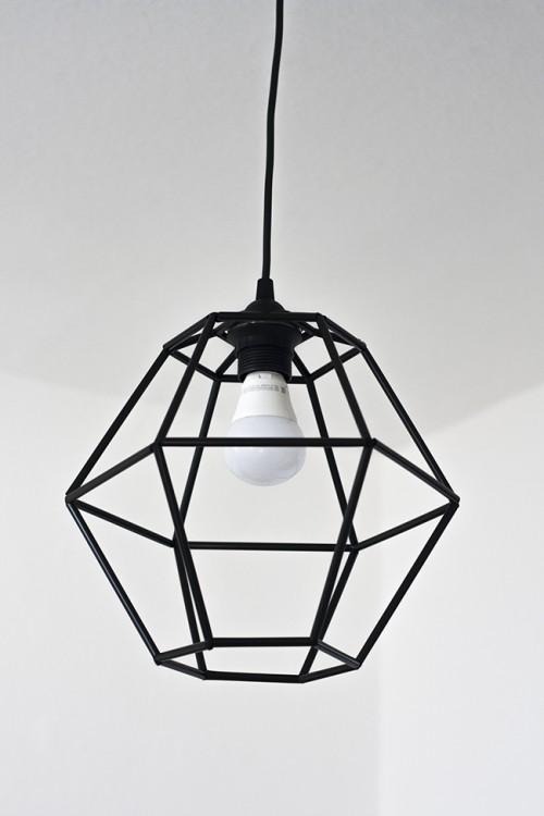 DIY Geometric Pendant Light Fixture Of Straws
