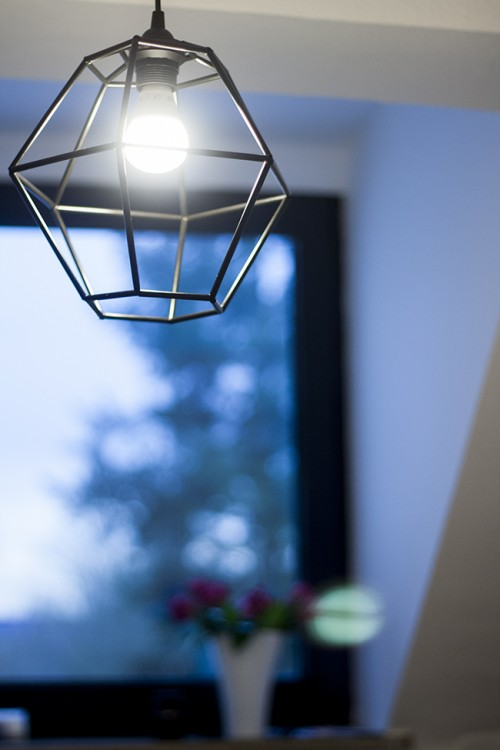 DIY Geometric Pendant Light Fixture Of Straws