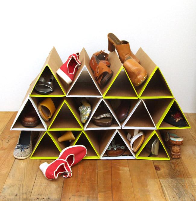 Picture Of diy geometric shoe rack of cardboard  1