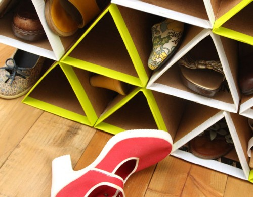 DIY Geometric Shoe Rack Of Cardboard