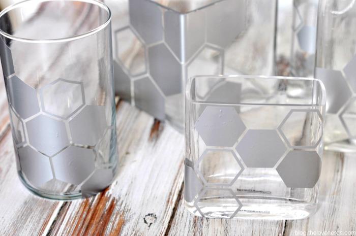 easy geo vases with stickers
