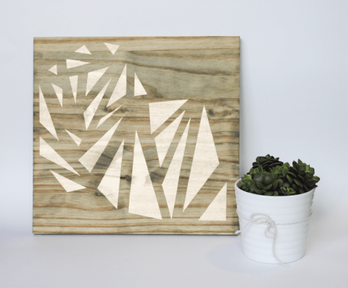 geometric wood art piece (via cladandcloth)