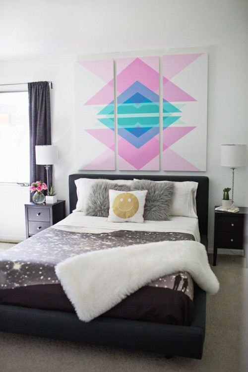 geometric headboard panels (via shelterness)