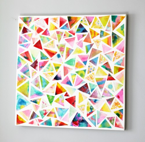 watercolor triangle wall art (via katebullen)