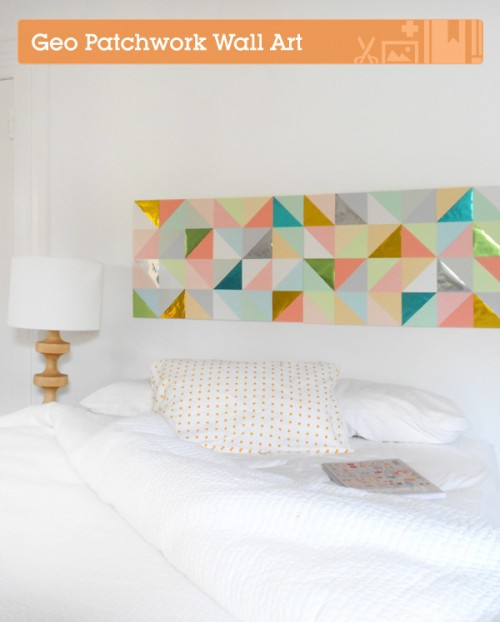 geometric patchwork wall art (via shelterness)