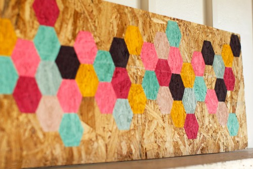 colorful hexagon wall art (via fortheloveof)