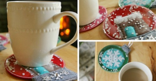 Diy Gingerbread House Snow Globe Coasters