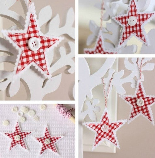 Diy Gingham Stars For Christmas Decor - DIY Gingham Stars For Christmas Decor - Shelterness