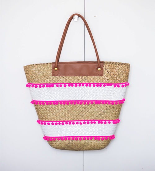 DIY Glam Beach Tote With Pompoms
