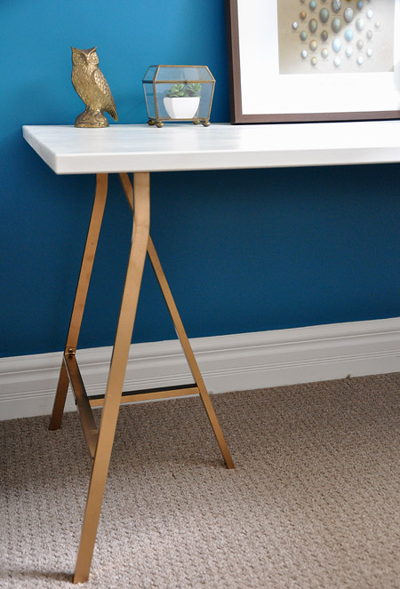diy glamour trestle desk shelterness