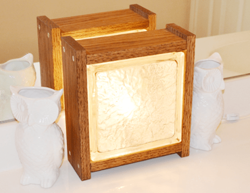 Diy glass block nightlight in wood shelterness for Glass block window frame