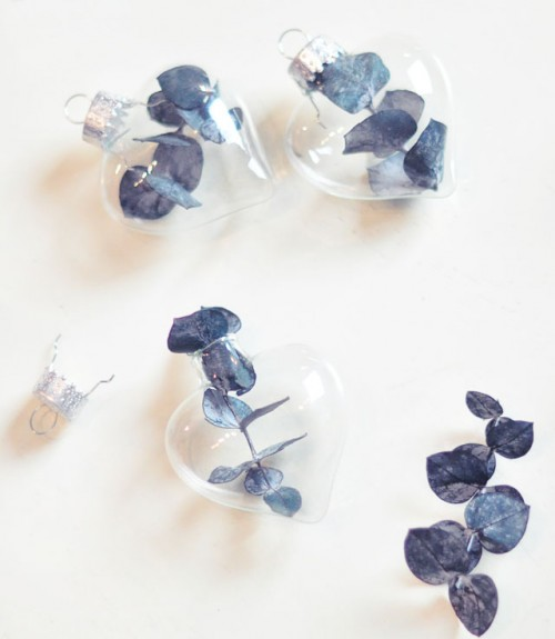 DIY Glass Heart Ornaments With Eucalyptus Leaves