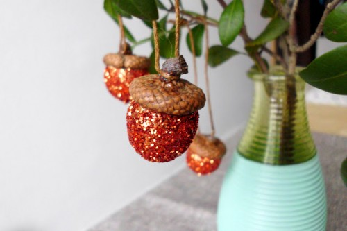 DIY Glitter Acorn Christmas Ornaments