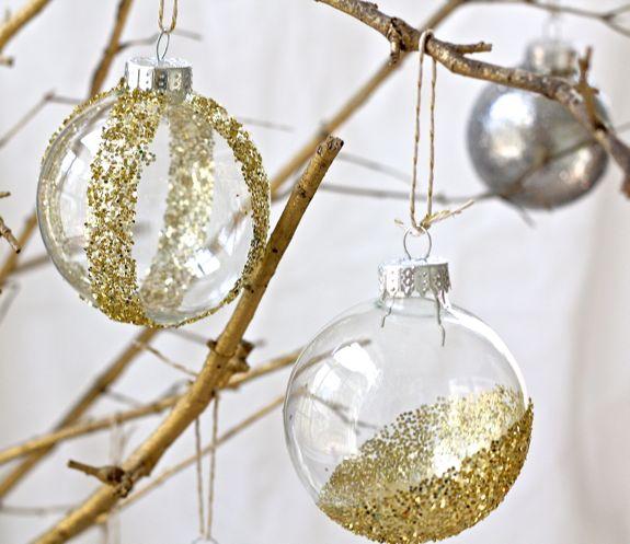 modern glitter ornaments