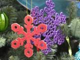 glitter snowflake wooden ornament