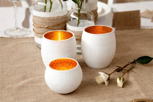 DIY Glitter Glass Votives